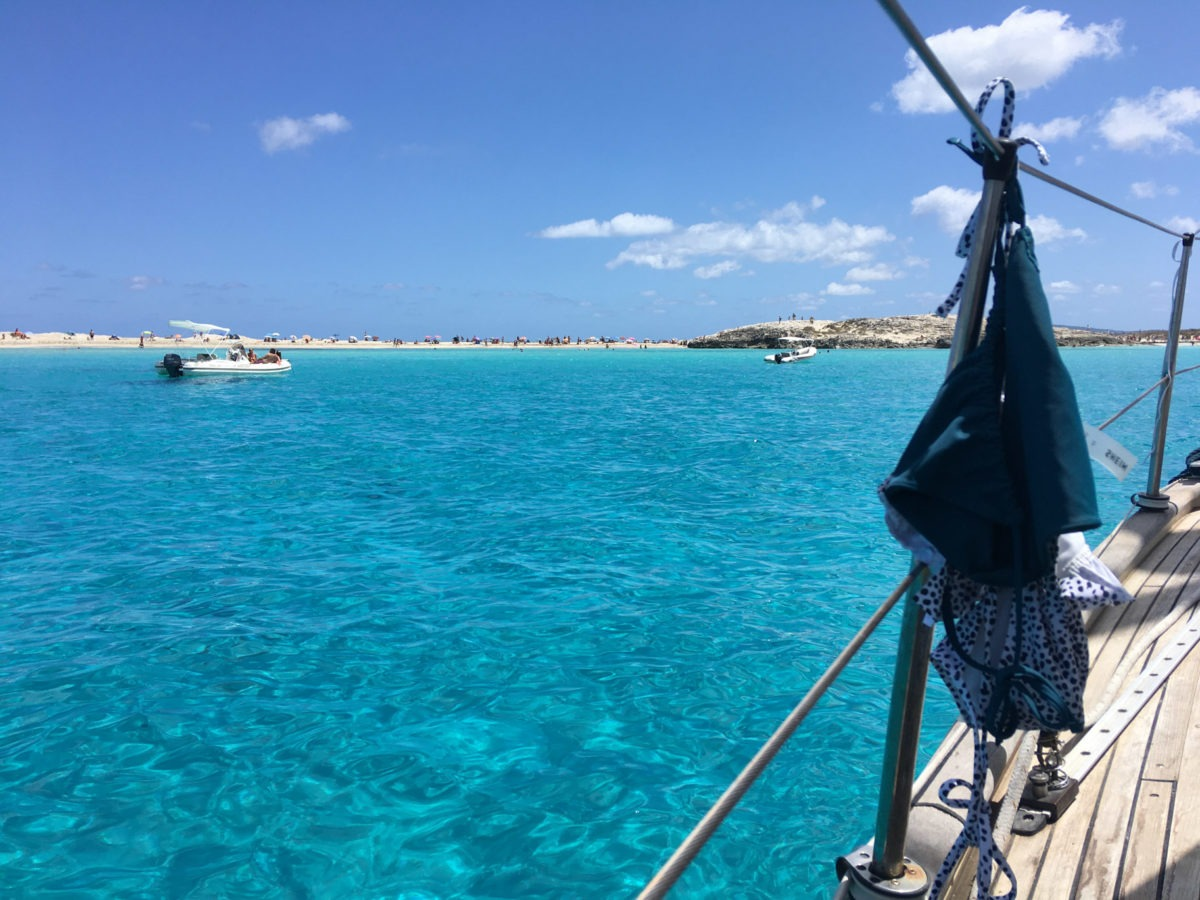 Ankeren bij Formentera is mooi